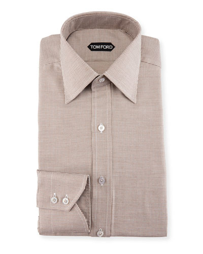 Slim-Fit Mini-Houndstooth Dress Shirt
