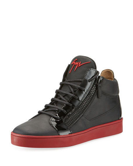 Giuseppe Zanotti Berlin Leather Mid-Top Sneaker