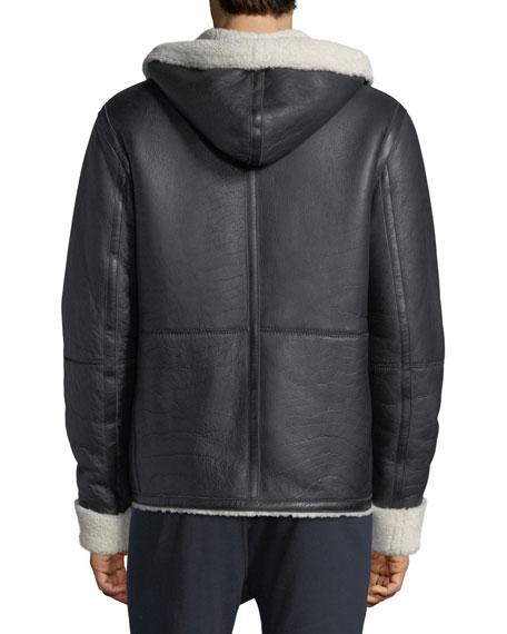 Shearling Fur & Leather Hoodie
