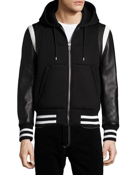 Leather-Sleeve Neoprene Hooded Jacket