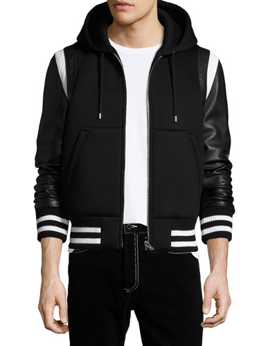 Leather-Sleeve Neoprene Hooded Jacket