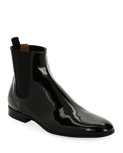 Alain Men's Patent Leather Chelsea Boot, Black