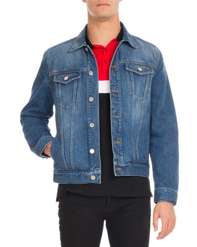 Logo-Print Denim Trucker Jacket, Blue