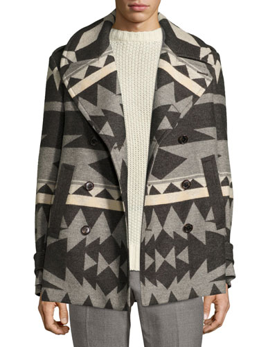 Beacon Patterned Wool Pea Coat, Gray