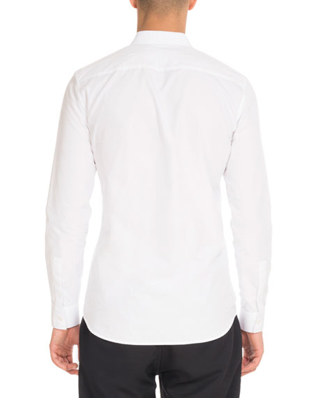 Star-Collar Button-Front Shirt, White