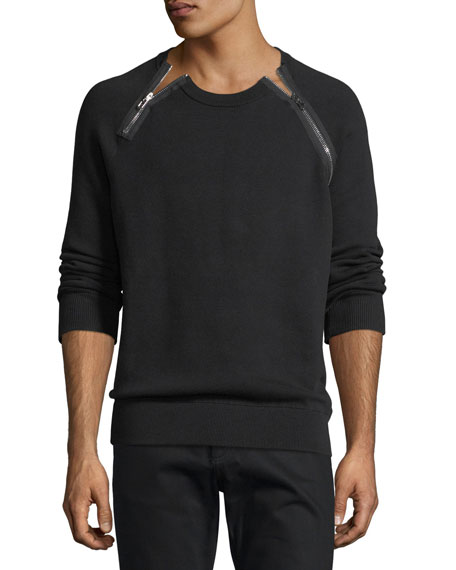 Zipper-Trim Sweatshirt