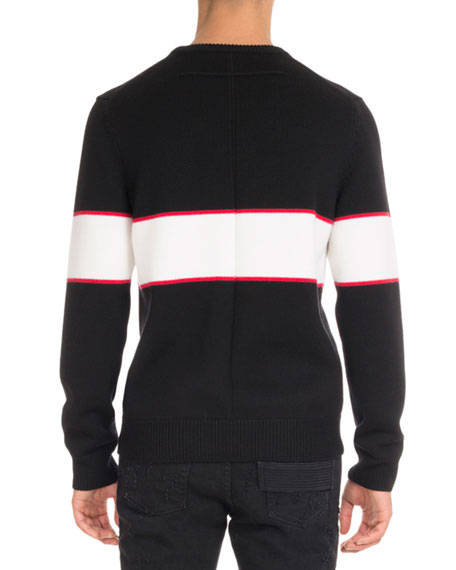 Logo-Stripe Wool Sweater, Black