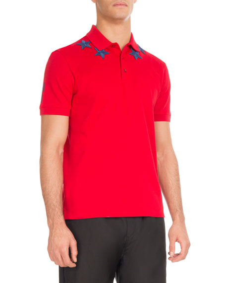 Cuban-Fit Star-Patch Polo Shirt, Red/Blue