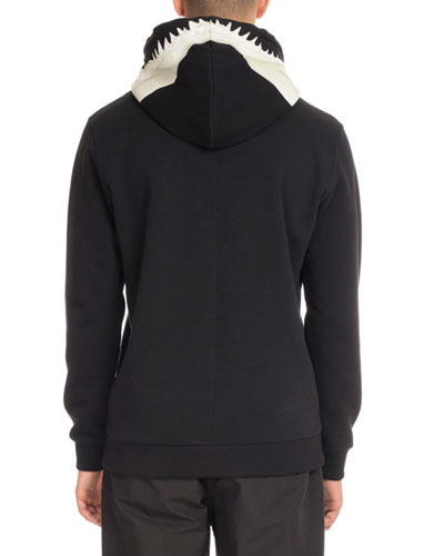 Shark-Tooth Hoodie Sweatshirt, Black