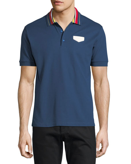 Cuban-Fit Striped-Collar Polo Shirt