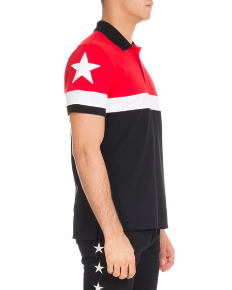 Cuban-Fit Colorblock Polo Shirt, Red/White/Black