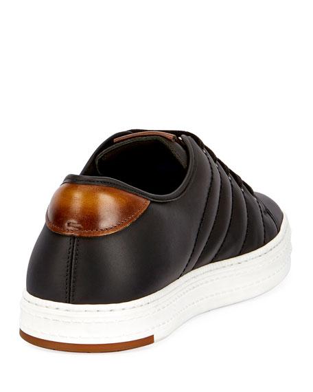 Playfield Men's Leather Low-Top Sneaker, Black
