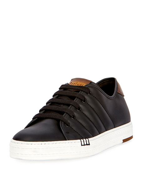 Berluti Playfield Men's Leather Low-Top Sneaker, Black