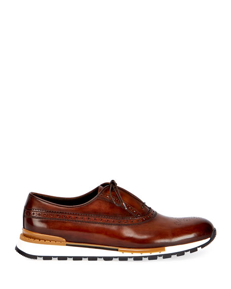 Men's Fast Track Leather Brogue Sneakers, Brown/Yellow
