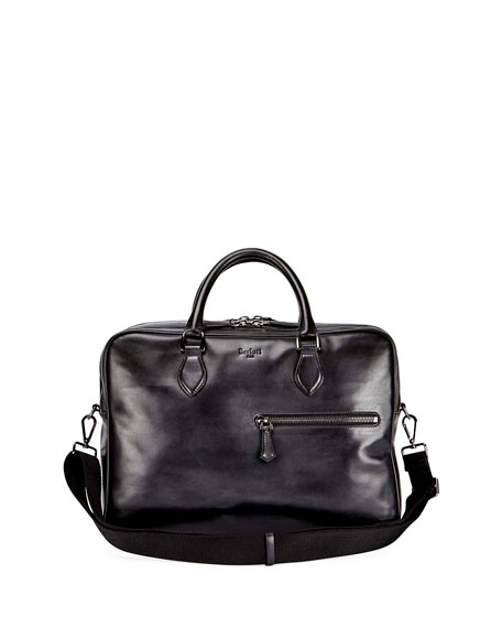 Berluti Deux Jours Calf Leather Briefcase, Nero Grigio