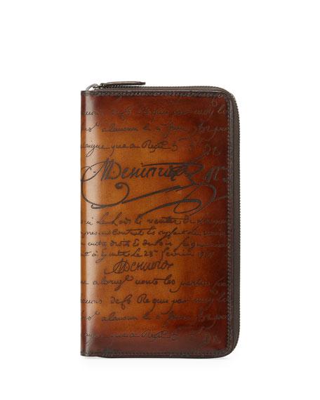 Berluti Scritto Leather Zip-Around Wallet