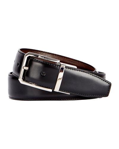 Versatile 35mm Reversible Leather Belt, Black Knight/Tobacco Bis