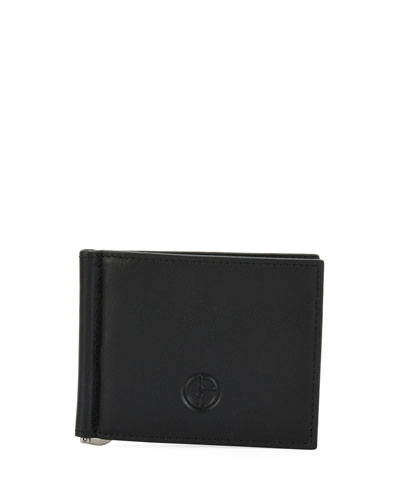 Leather Card Case with Money Clip  Black