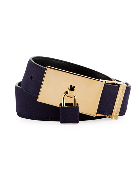 100mm Padlock-Buckle Nubuck Belt, Blue Ink