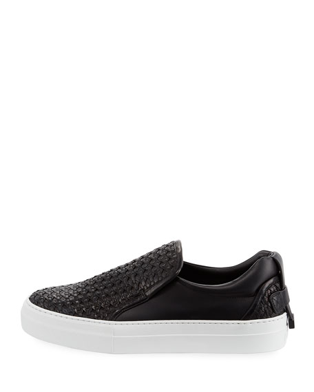 40mm Men's Woven Leather Slip-On Sneakers, Black