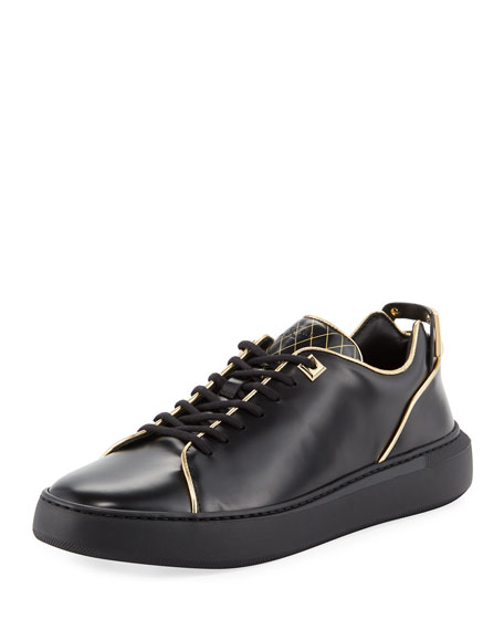 Buscemi Uno Leather Low-Top Sneaker with Golden Edges,
