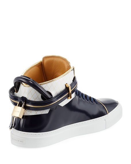 100mm Leather High-Top Sneaker, Dish Blue Ink/White