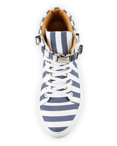 Men's 100mm Striped Canvas High-Top Sneaker, Blue Ink