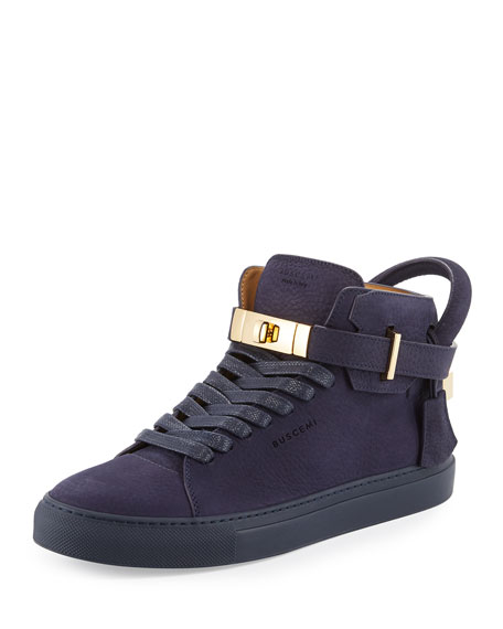 Buscemi 100mm Men's Nubuck Leather High-Top Sneaker, Blue