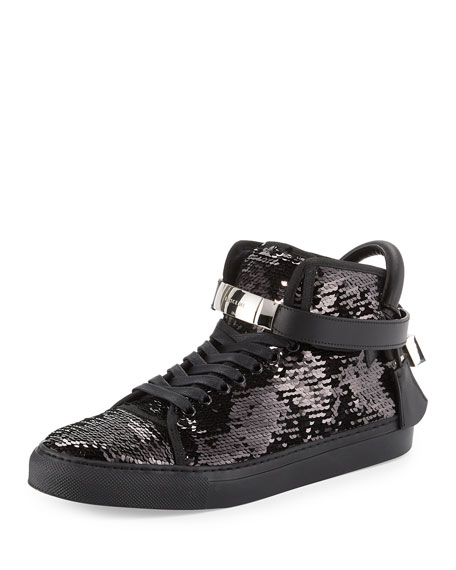 Buscemi Men's 100mm Sequined High-Top Sneaker, Black