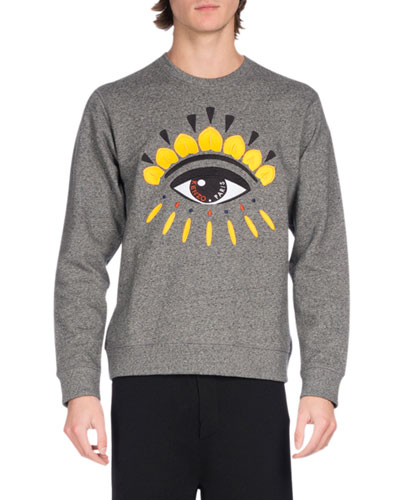 Embroidered Eye Icon Sweatshirt, Gray