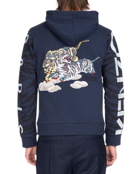 Tiger Icon Badges Hooded Sweatshirt, Blue