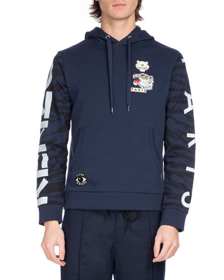 199a41b434 Kenzo Tiger Icon Badges Hooded Sweatshirt, Blue