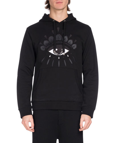 Embroidered Eye Icon Hoodie, Black