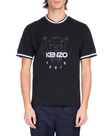 Kenzo Cottons URBAN STRIPE TIGER LOGO T-SHIRT, BLACK