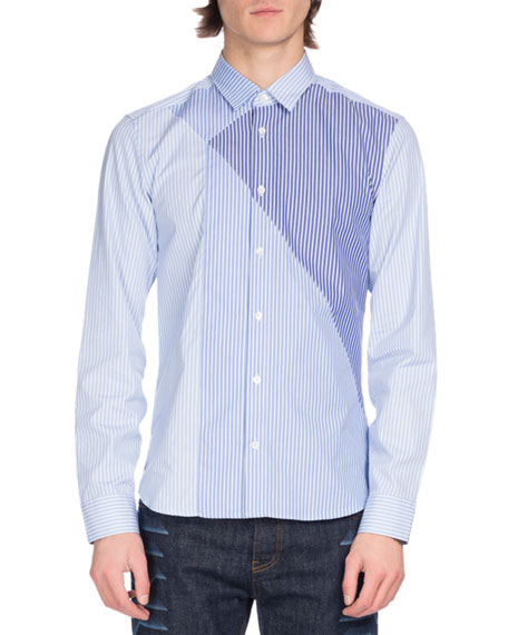 Pieced-Stripe Cotton Shirt, Light Blue