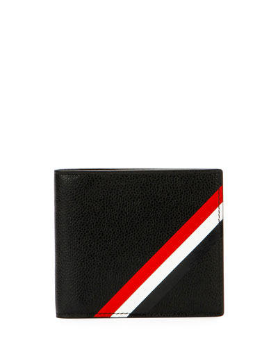 Diagonal-Stripe Leather Wallet, Black