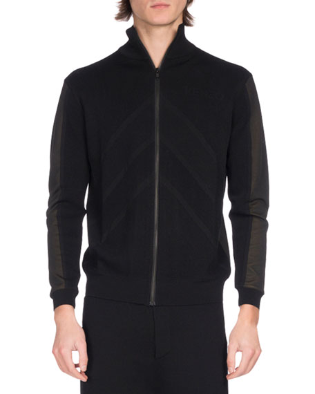 Two-Tone Zip-Front Track Jacket, Black