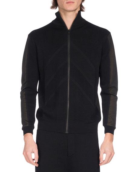 Kenzo Two-Tone Zip-Front Track Jacket, Black