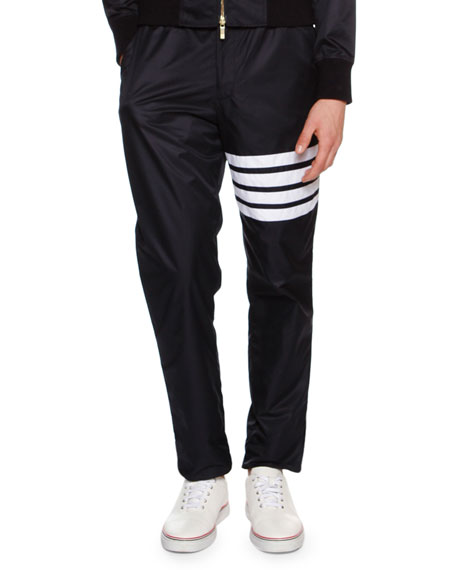 4-Bar Striped Track Pants, Navy