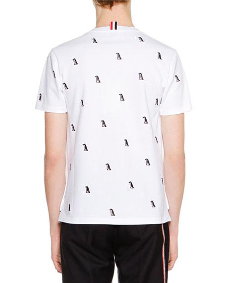 Short-Sleeve Penguin-Embroidered T-Shirt, White