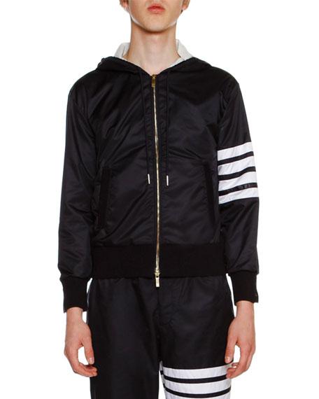 Ripstop Zip-Front Hoodie Jacket, Navy