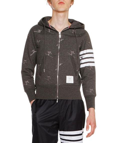 Classic Zip-Up Skier Icon Hoodie, Dark Gray