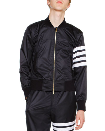 4-Bar Striped Bomber Jacket