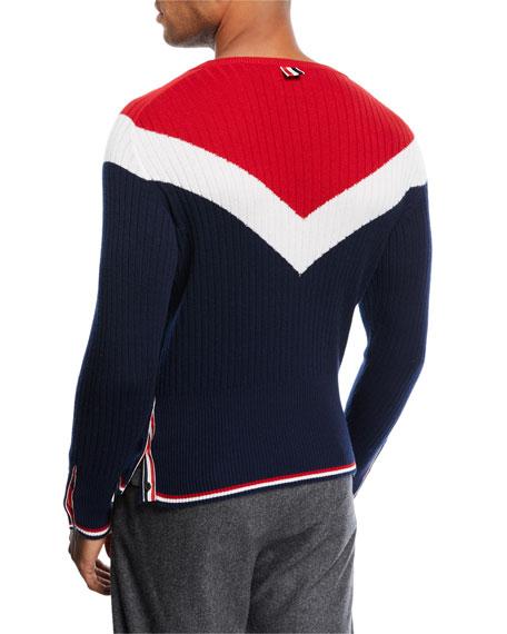 Chevron Crewneck Cashmere Sweater