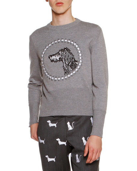 Hector Embroidered Crewneck Sweater, Light Gray