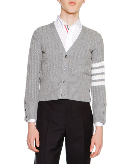 Cable-Knit Cashmere V-Neck Cardigan, Light Gray