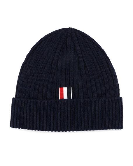 Thom Browne Cashmere Beanie Hat w/ Striped-Panel