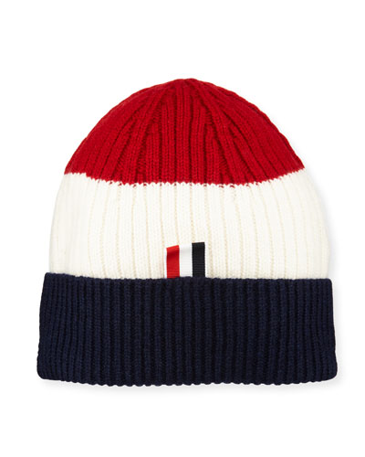 Ribbed Fun Mix Cashmere Hat with 4-Bar Stripes