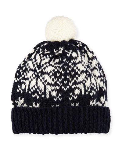 Snowflake Fair Isle Knit Hat w/ Pompom