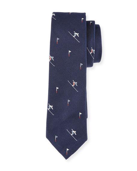 Thom Browne Skier & Flag Silk Jacquard Tie